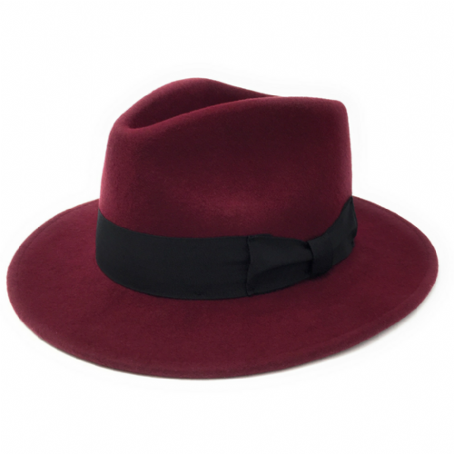 Wine Crushable Wool Fedora Hat - Indy